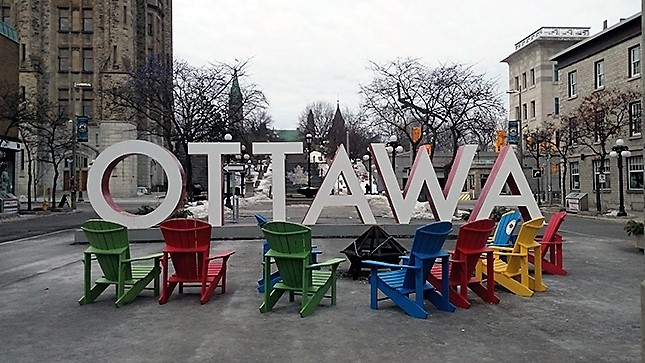 Ottawa Sign with Chairs in the Byward Market Ottawa